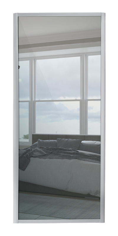 Ellipse Single Panel door with silver frame and single mirror panel