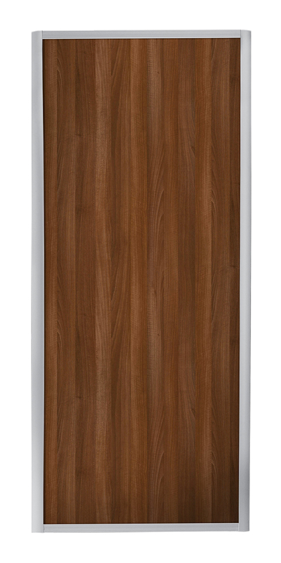 Ellipse Single Panel door with silver frame and single walnut panel