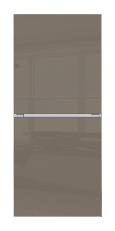 Minimalist 2 Panel door with silver frame and 2 cappuccino glass panels