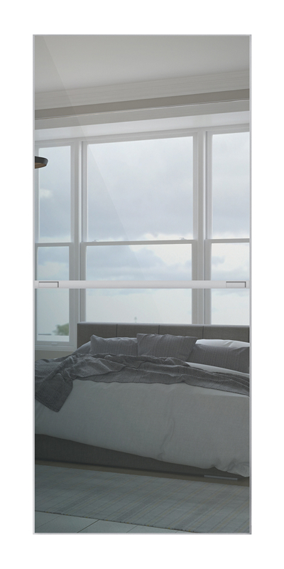 Minimalist 2 Panel door with silver frame and 2 mirror panels