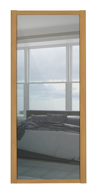 Shaker Single Panel door with oak frame and mirror panels