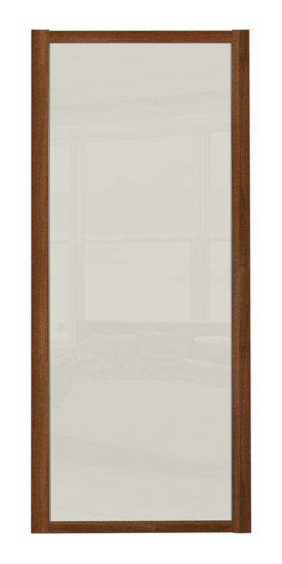 Shaker Single Panel door with walnut frame and arctic white glass panels