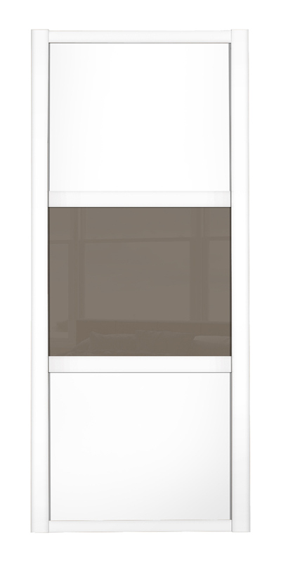 Shaker Wideline door white frame white wood panels top and bottom and cappuccino glass middle panel