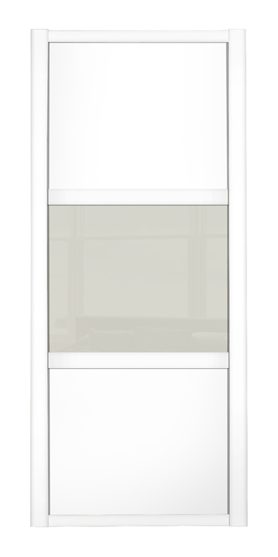 Shaker Wideline door, white frame, white wood panels top/bottom, arctic white glass middle panel