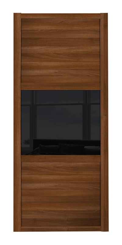 Shaker Wideline door with walnut frame and walnut panels top and bottom and black glass middle panel