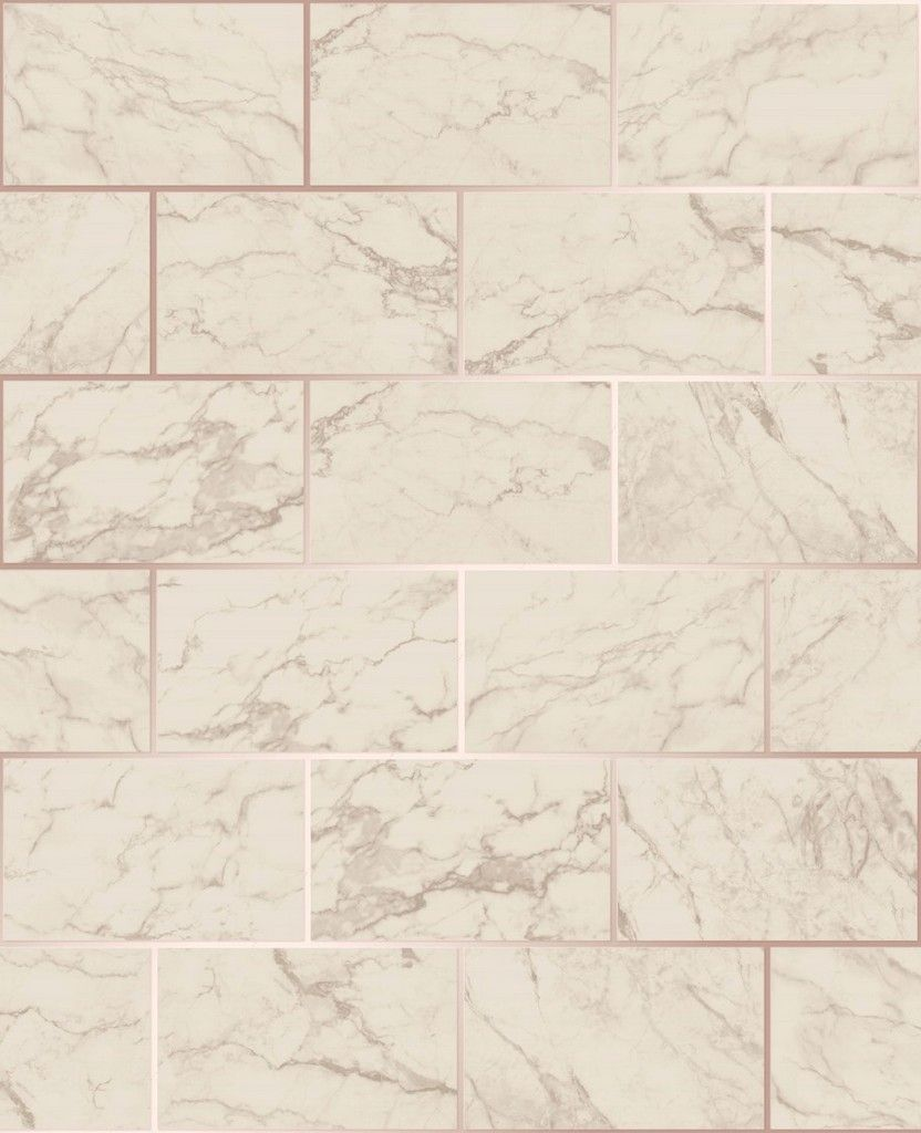 Crown Kitchen/Bathroom Marble Rose Gold/Ivory Wallpaper (M1510)