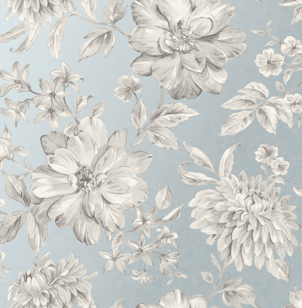 Crown Lucia Floral Grey/Blue Wallpaper (M1549)