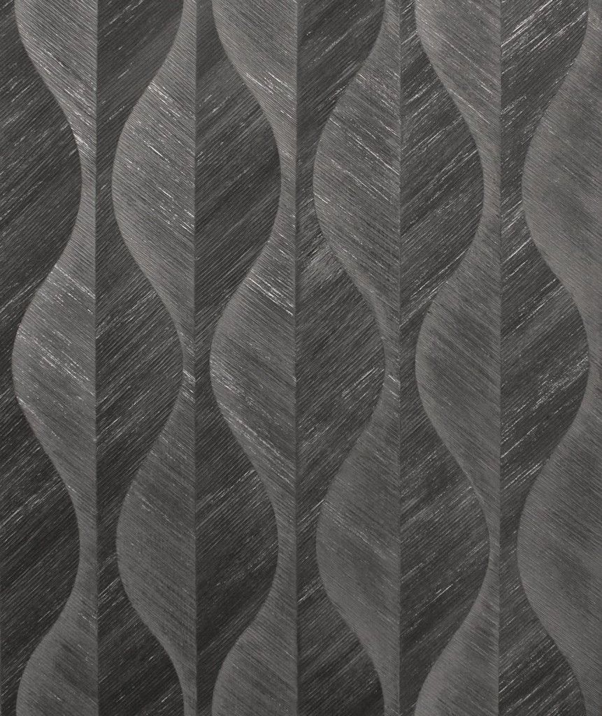 Crown Precision Organic Leaf Charcoal Wallpaper (M1575)