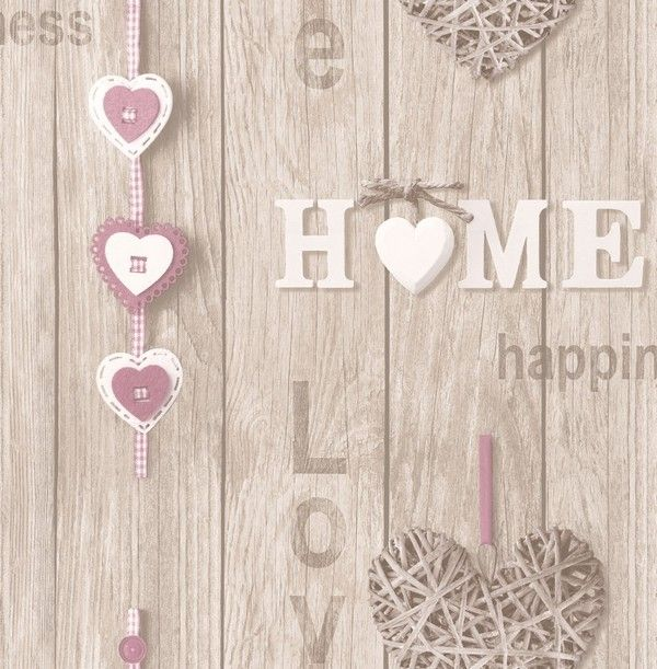 Fine Decor Love Your Home Dusky Pink/Driftwood Wallpaper (FD41720)