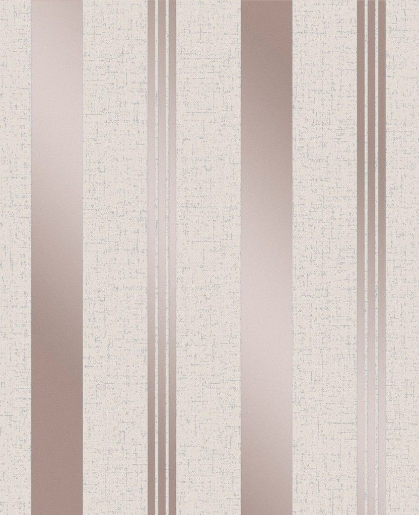 Fine Decor Quartz Stripe Rose Gold/Off White Wallpaper (FD2205)