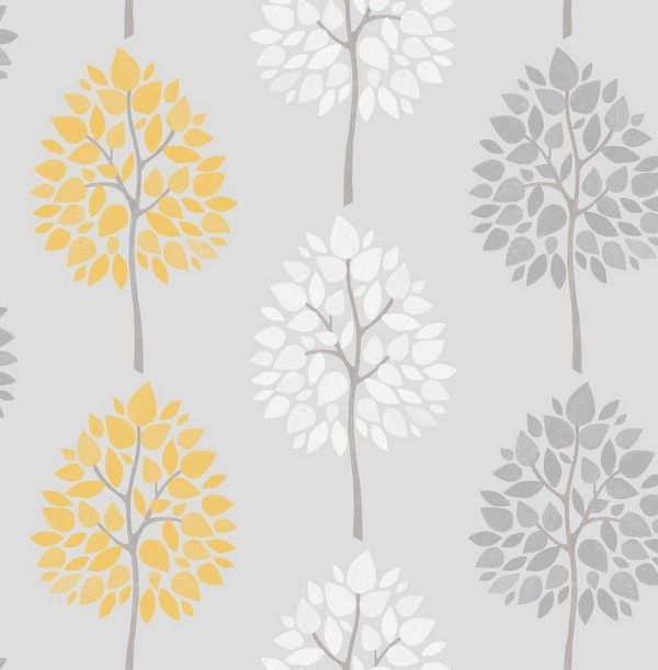 Fine Decor Riva Tree Grey/Yellow Wallpaper (FD41594)