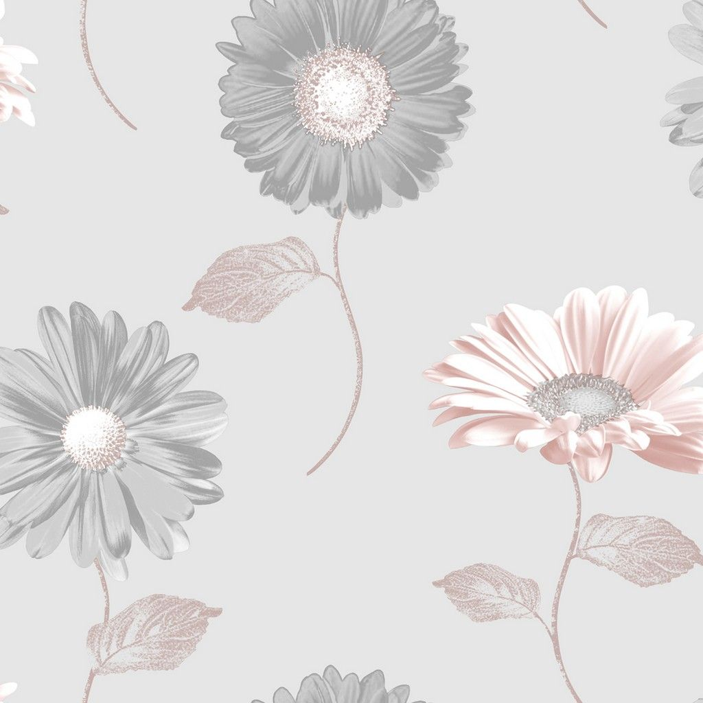 Muriva Daisy Wallpaper - Grey/Rose Gold (111507)