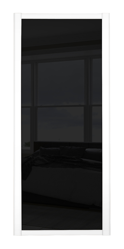 Shaker Single Panel door with white frame and black glass panel