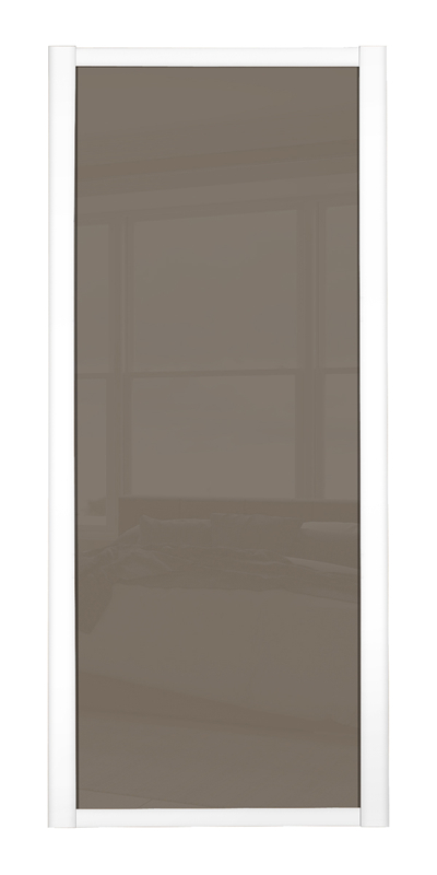 Shaker Single Panel door with white frame and cappuccino glass panel